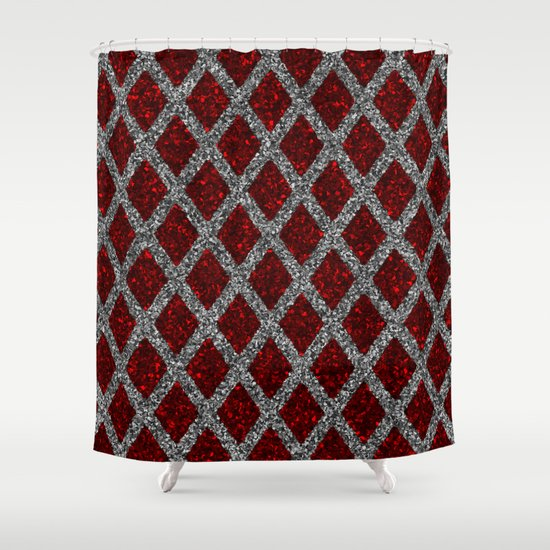 Red Gray Rhombus Shower Curtain By Giovanni Fontana