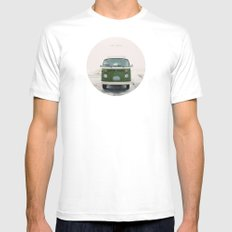 LIVE SIMPLY. Vintage Volkswagen Van.  Mens Fitted Tee White SMALL
