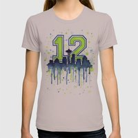 Seattle 12th Man Art Sky… Womens Fitted Tee Cinder SMALL
