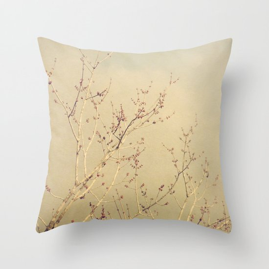 Vintage February Branches Throw Pillow