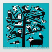 ANIMAL TREE AQUA Canvas Print