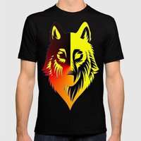 The Solar Wolf Mens Fitted Tee Black SMALL