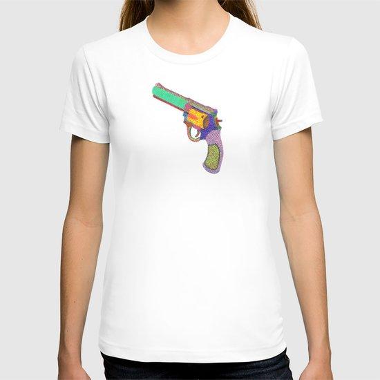 gun shoots color T-shirt
