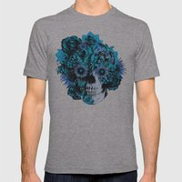Full circle...Floral ohm skull pattern Mens Fitted Tee Athletic Grey SMALL