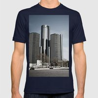 Detroit's Hart Plaza Mens Fitted Tee Navy SMALL