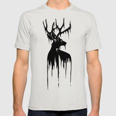 Painted Stag V.2 Mens Fitted Tee Silver SMALL