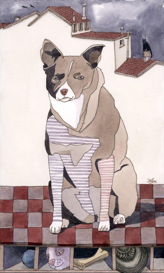 Striped Dog Art Print