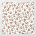 Pattern: Strawberries & Hearts Canvas Print