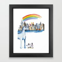 Unicorn Penguin Love NYC Framed Art Print