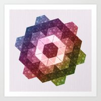 Patchwork Tiles IV (Rainbow flowers) Art Print