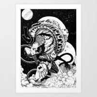 Doomed Astronaut Art Print