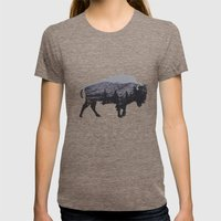 The American Bison Womens Fitted Tee Tri-Coffee SMALL