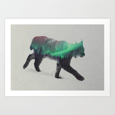 Lynx In The Aurora Borea… Art Print