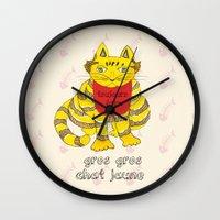 Big Fat Yellow Cat Wall Clock