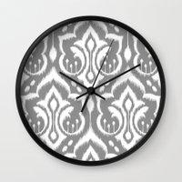 Ikat Damask Gray Wall Clock