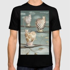 Cats in Cups Mens Fitted Tee Black SMALL