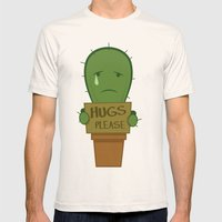 Hugs Please Mens Fitted Tee Natural SMALL