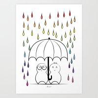 Mimos under Rainbow rain Art Print