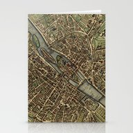 Old Paris Map And Other … Stationery Cards
