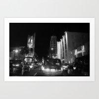 Hollywood At  Night Art Print