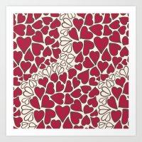 HEARTS  ~  CRIMSON & CLEAR Art Print