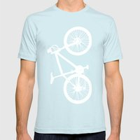 Mountain Bike Navy Blue Mens Fitted Tee Light Blue SMALL