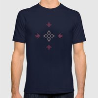 Abstract floral shapes Mens Fitted Tee Navy SMALL
