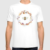 Bee With Flowers Mens Fitted Tee White SMALL