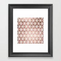 Geometric faux rose gold foil triangles pattern Framed Art Print