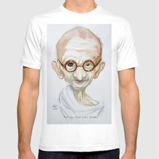 Gandhi White Mens Fitted Tee SMALL