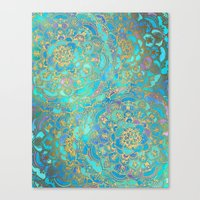 Canvas Print featuring Sapphire & Jade Stained Glass Mandalas by micklyn