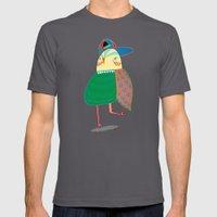Skateboarding Owl. Mens Fitted Tee Asphalt SMALL