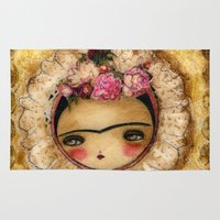 Frida In A Brown And Green Tehuana Mexican Traditional Dress Rug