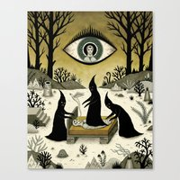Three Shadow People Terrify a Victim During an Episode of Sleep Paralysis Canvas Print