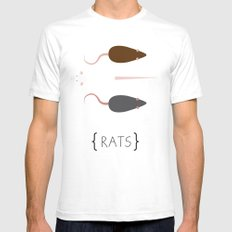 Rats! SMALL Mens Fitted Tee White