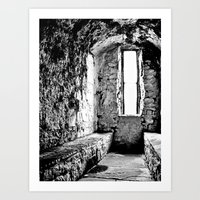 Castle Window B&W Art Print