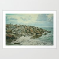 Saltwash on Seawall and Rocks Fort Fisher, NC Painterly Art Print