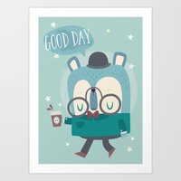 Snazzy Bear Says Good Da… Art Print