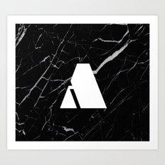 Black Marble - Alphabet A Art Print