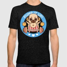 Pump It Up, Puglie! Mens Fitted Tee Tri-Black SMALL