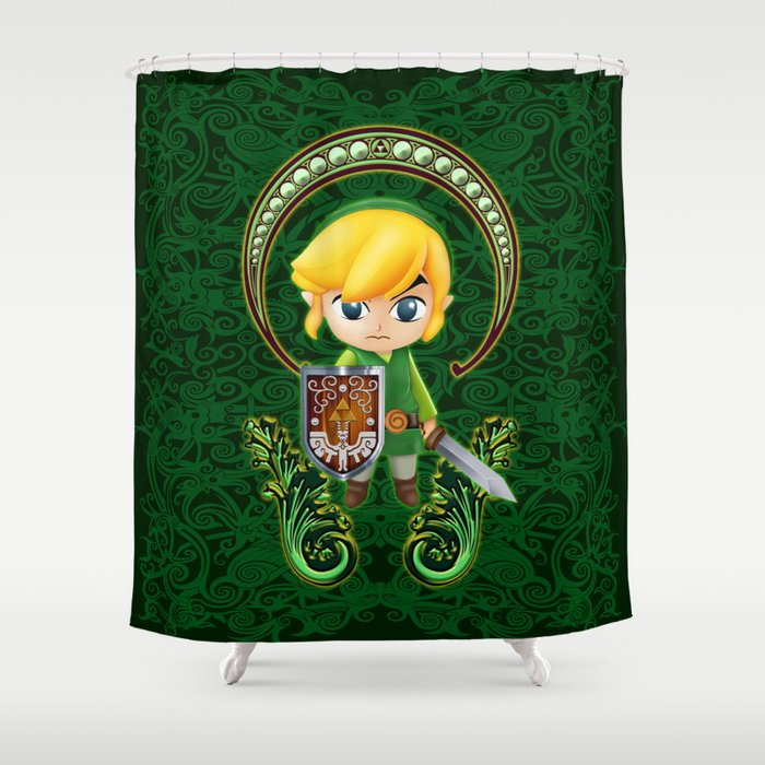Cute link egg head shower curtain by three second society6 for Zelda bathroom decor