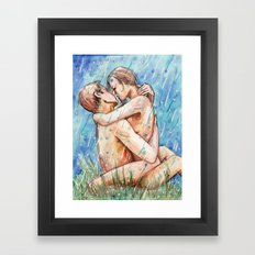Lovers In The Rain Framed Art Print