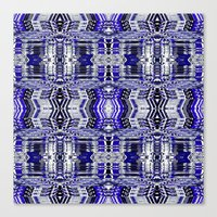 Blue Tribal Glitch Canvas Print