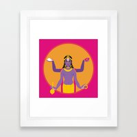the blue god- Neel VIshnu Framed Art Print