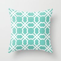 Moroccan Lattice In Cyan Throw Pillow