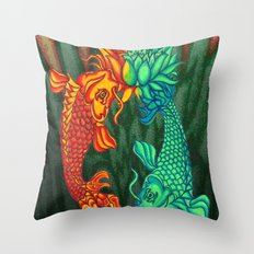 Koi Fish Lotus Throw Pillow