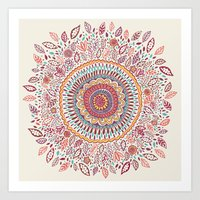 mandala Art Prints featuring Sunflower Mandala by Janet Broxon