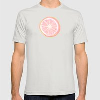Pink Grapefruit and Dots - Green Mens Fitted Tee Silver SMALL