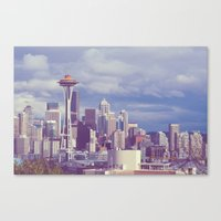 Space Needle Goes Galaxy Gold Canvas Print
