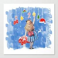 Alice Winter Wonderland, Christmas Design Canvas Print